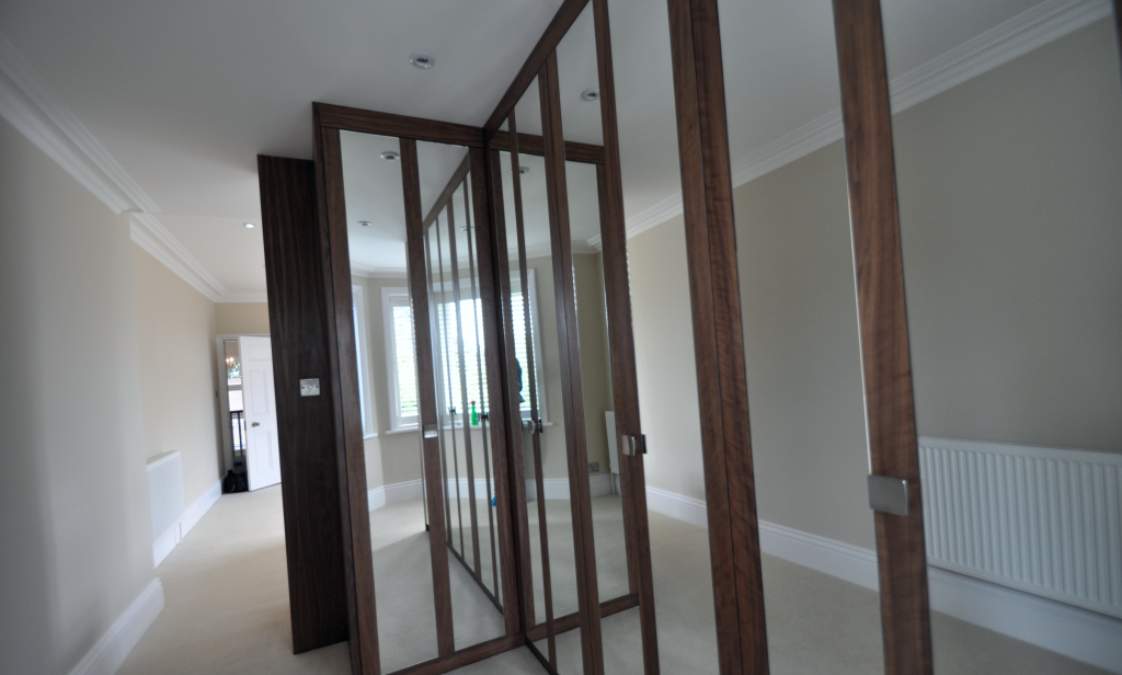 mirrored L shape wardrobe