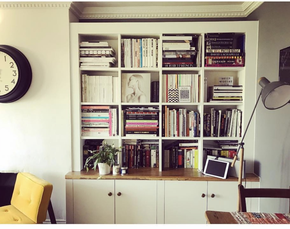 corner white bookcase