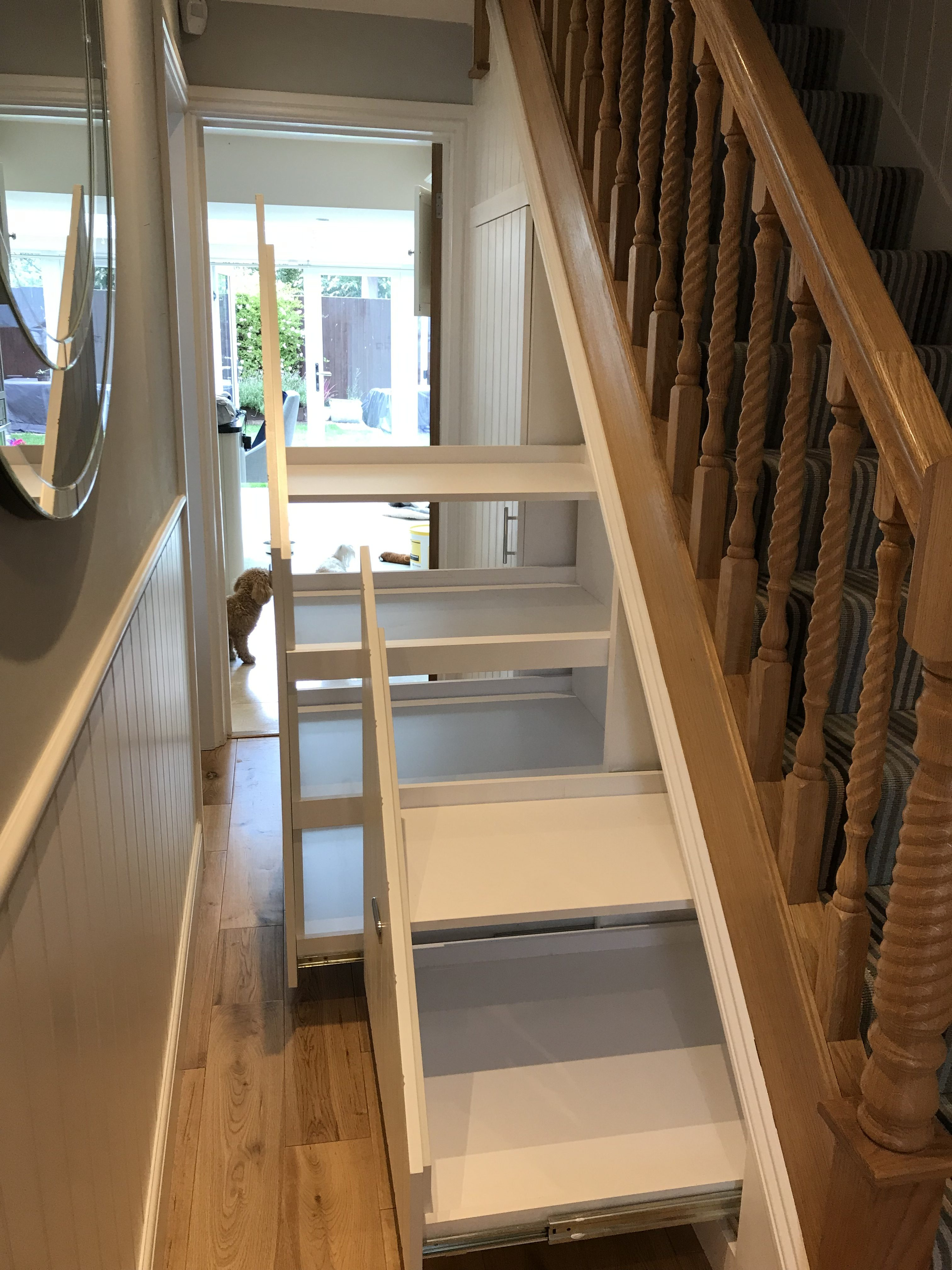 Under-stairs pull-out cabinets